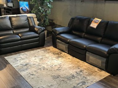 A450 Natuzzi Dark Chocolate Power Sofa and Loveseat