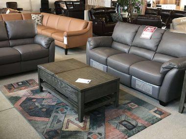 B693 Natuzzi Metal Grey Power Sofa & Loveseat