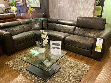 B790 Natuzzi Forza Dark Chocolate Power Sectional