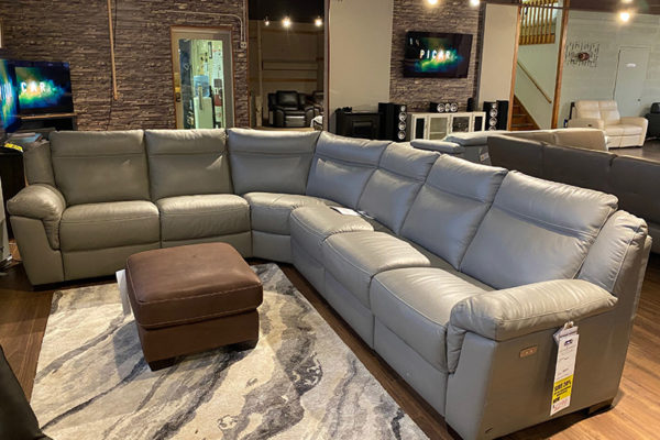 B865 Natuzzi Light Grey Power Sectional
