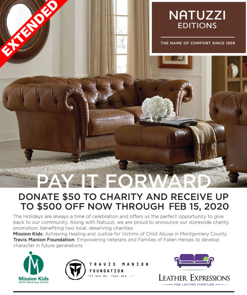 pay it forward campaign leather expressions donate to charity and receive big discount