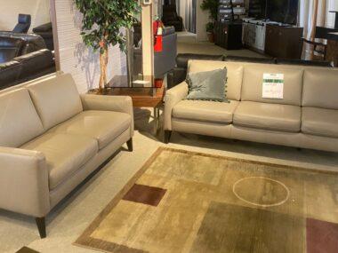 Natuzzi Light Grey Sofa and Loveseat