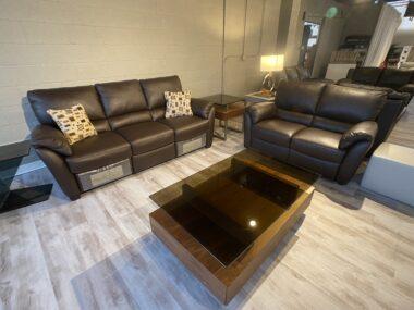 Natuzzi B693 Chocolate Power Sofa and Loveseat