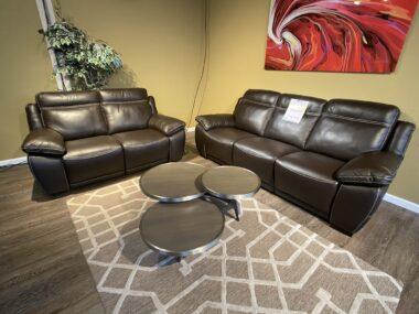 Natuzzi B875 Dark Chocolate Power Sofa and Loveseat